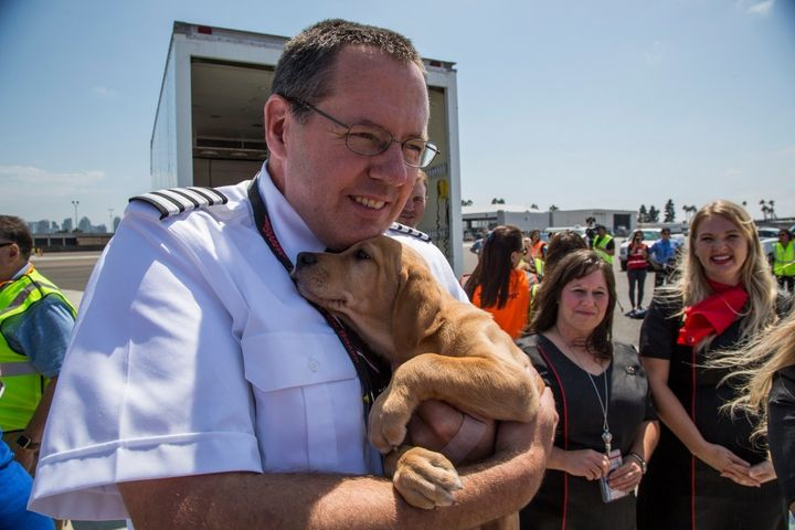 A pilot cradles a puppy during a rescue mission taking Harvey-hit animals to San Diego.