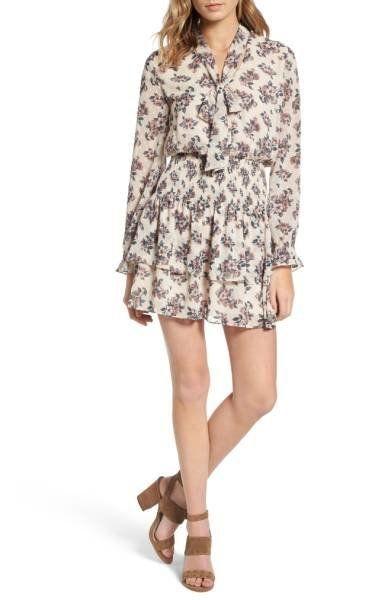 "Shop it <a href=""http://shop.nordstrom.com/s/moon-river-floral-print-tie-neck-dress/4457389?origin=keywordsearch-personalized"