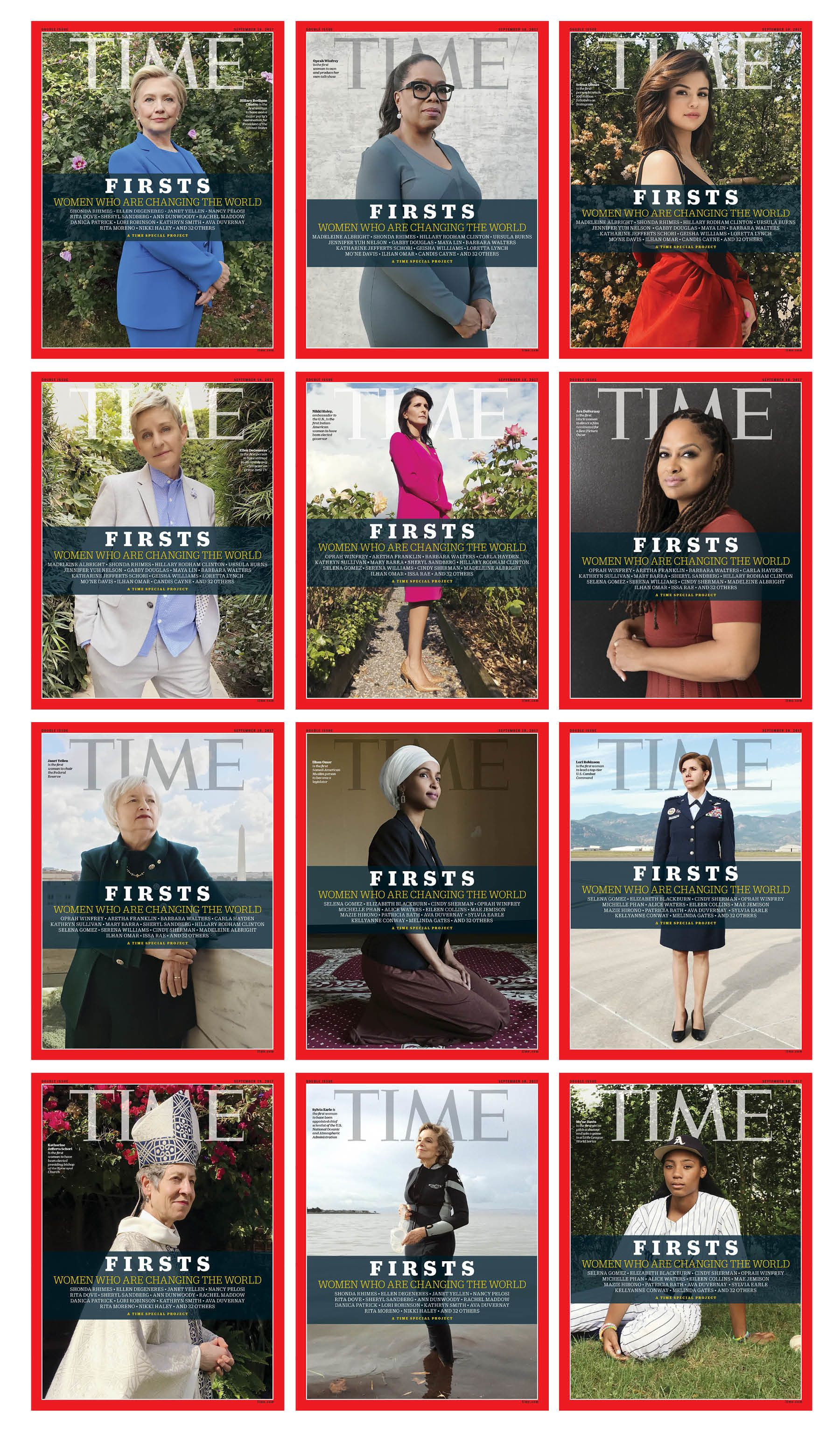 "Three of the Time ""FIRSTS"" covers, featuring Ellen Degeneres, Nikki Haley and Ava DuVernay."