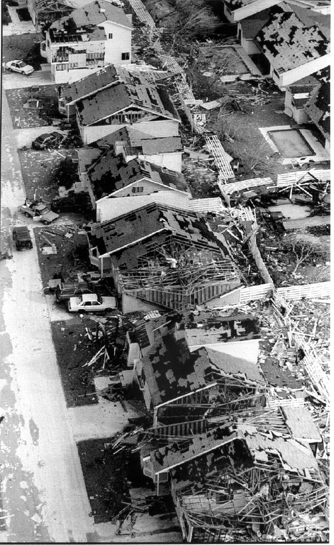 The Country Walk neighborhood is left in ruins by Hurricane Andrew on Sept. 1, 1992.
