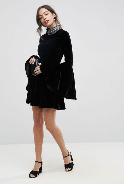 "Pictured: <a href=""http://us.asos.com/asos/asos-velvet-skater-with-embellished-high-neck-mini-dress/prd/8534763?clr=black&amp"
