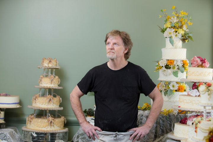 Jack Phillips stands before a display of his wedding cakes at the Masterpiece Cakeshop in September 2016.