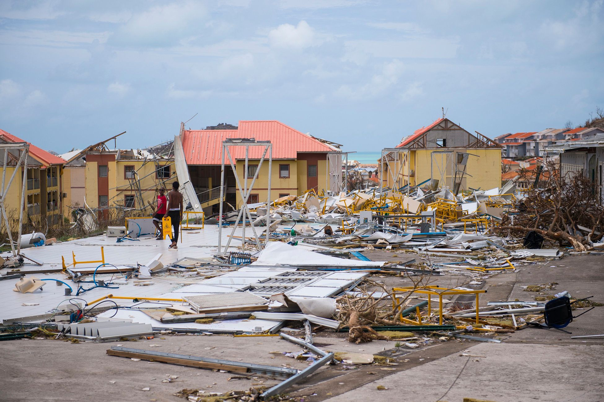 A photo taken on September 7, 2017 shows damage in the Concordia area on the French Carribean island of Saint-Martin, after the passage of Hurricane Irma. France, the Netherlands and Britain on September 7 rushed to provide water, emergency rations and rescue teams to territories in the Caribbean hit by Hurricane Irma, with aid efforts complicated by damage to local airports and harbours. The worst-affected island so far is Saint Martin, which is divided between the Netherlands and France, where French Prime Minister Edouard Philippe confirmed four people were killed and 50 more injured.    / AFP PHOTO / Lionel CHAMOISEAU        (Photo credit should read LIONEL CHAMOISEAU/AFP/Getty Images)