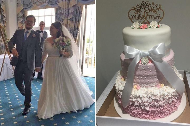 On the left, a photo of the newlyweds. On the right,a photo of the original cake before it collapsed.