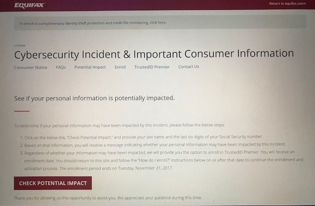 Equifax Security Check 2017