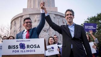 Illinois Democratic gubernatorial candidate Daniel Biss right named Chicago Alderman Carlos Ramirez-Rosa his running mate on Thursday Aug 31 then dropped him less than a week later