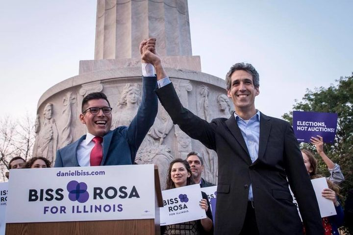Daniel Biss, right, a Democrat running for governor of Illinois, named Chicago Alderman Carlos Ramirez-Rosa as his running ma