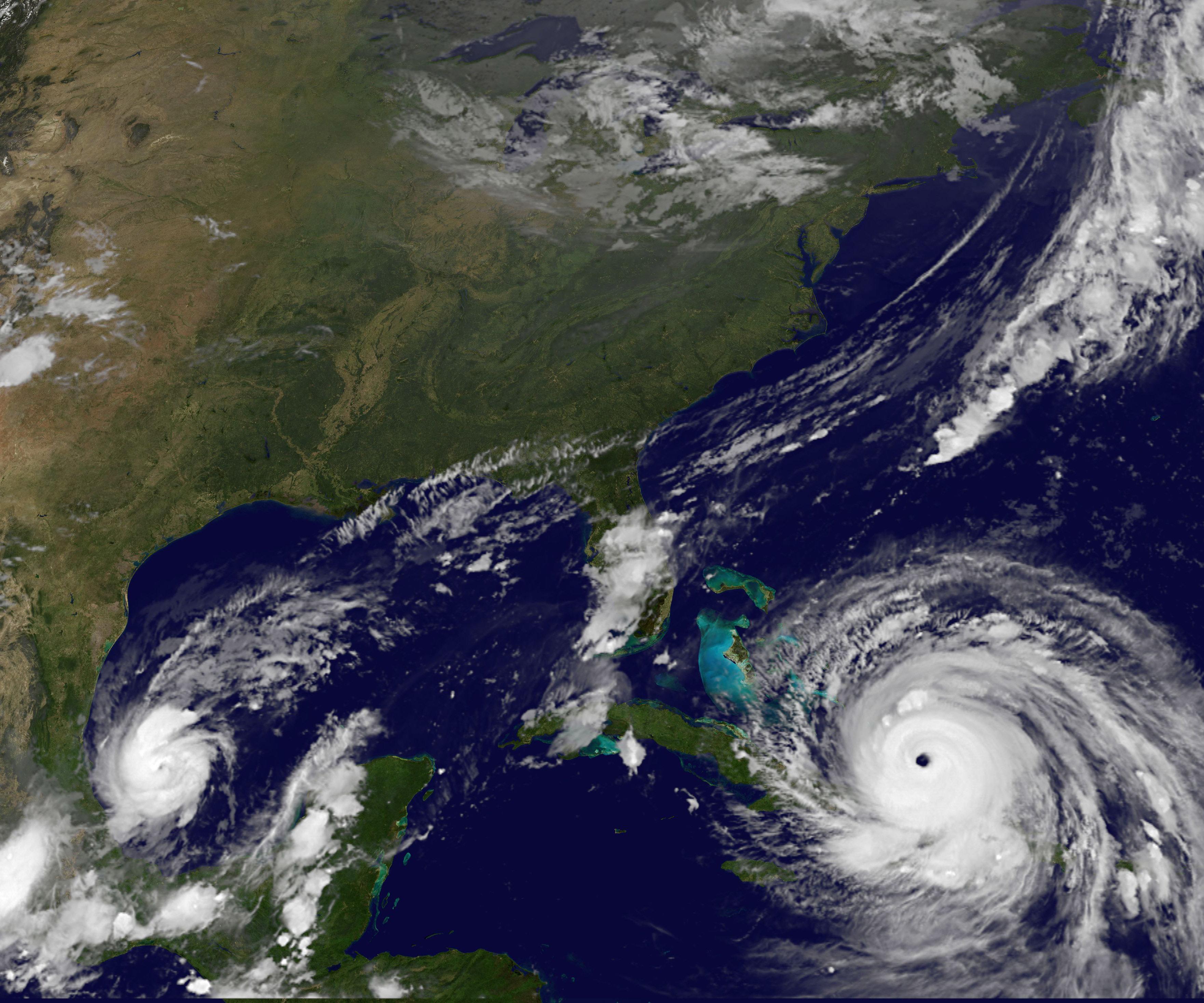 Satellite image of Hurricane Irma approaching the Florida
