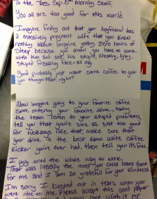 Woman Leaves Coffee Shop Staff Heartfelt Note After They Helped Her Through The Worst Kind Of Day
