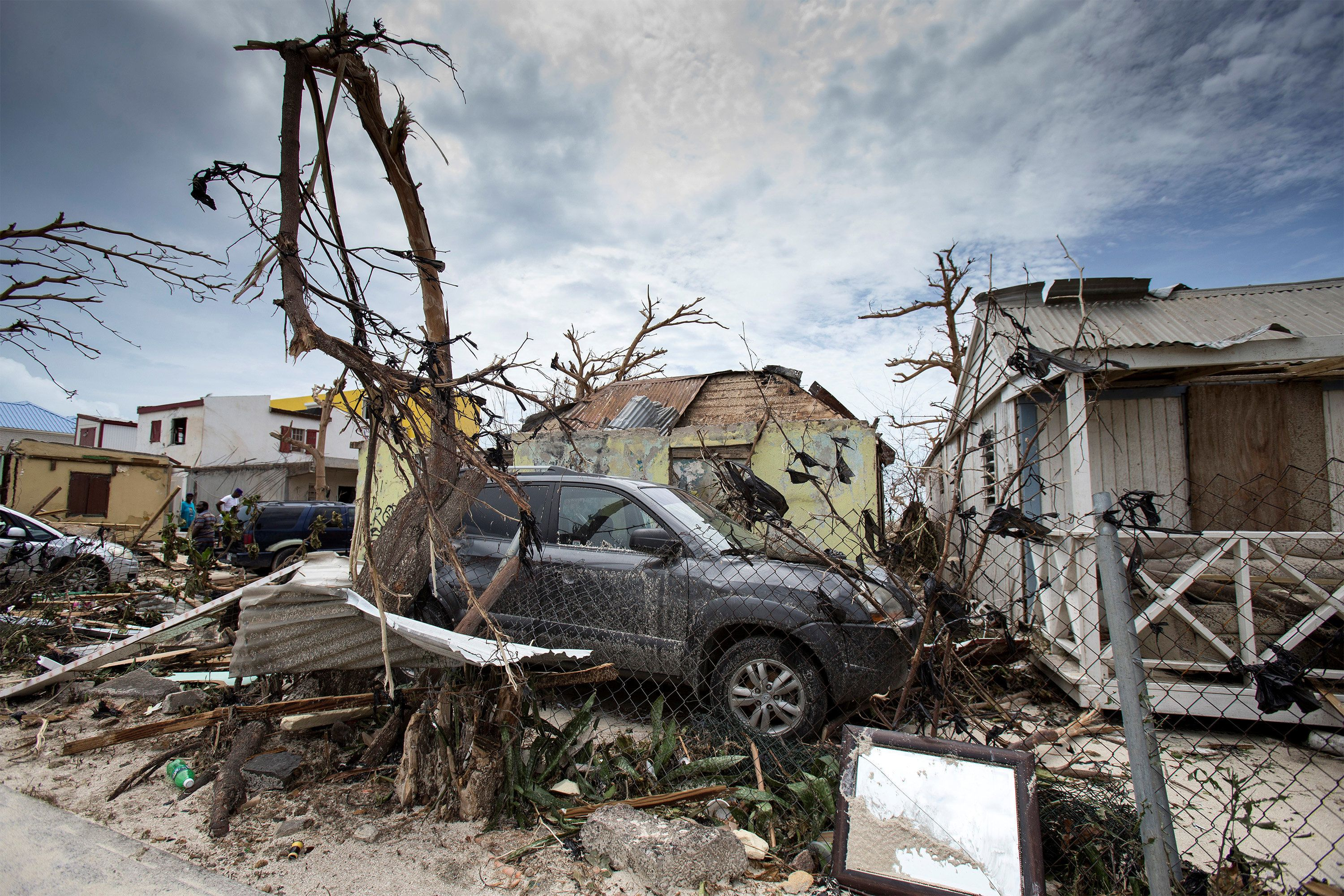The aftermath of Hurricane Irma on the island of St