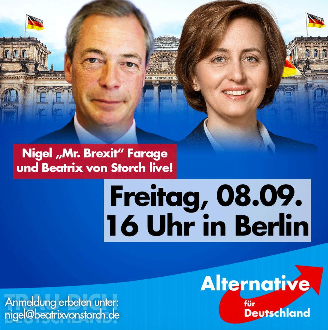 Beatrix von Storch announcing Nigel Farages attendance theAlternative für Deutschland rally...