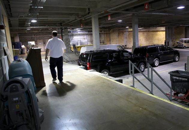 SUV's in the loading dock of the US Capitol used by Donald Trump Jr yesterday - the hearing was held...