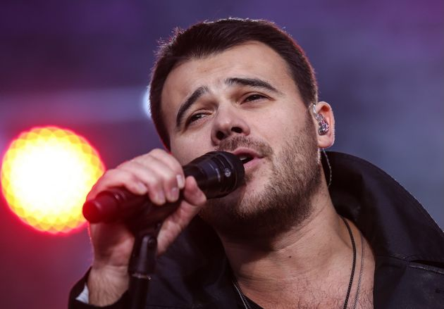 Singer Emin Agalarov performs in a concert in Red Square celebrating the Day of Russia last