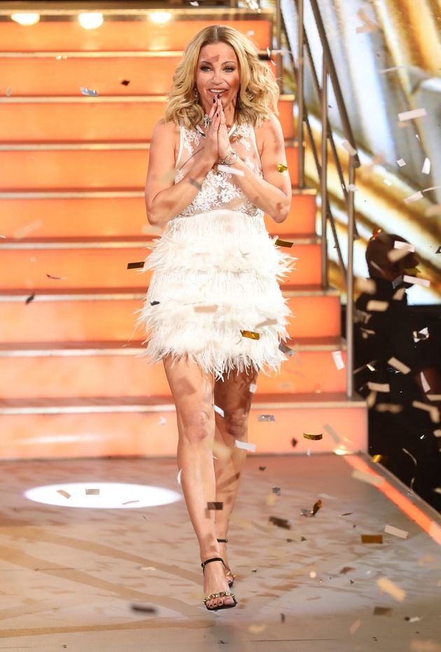 A stunned Sarah Harding finds out she's won