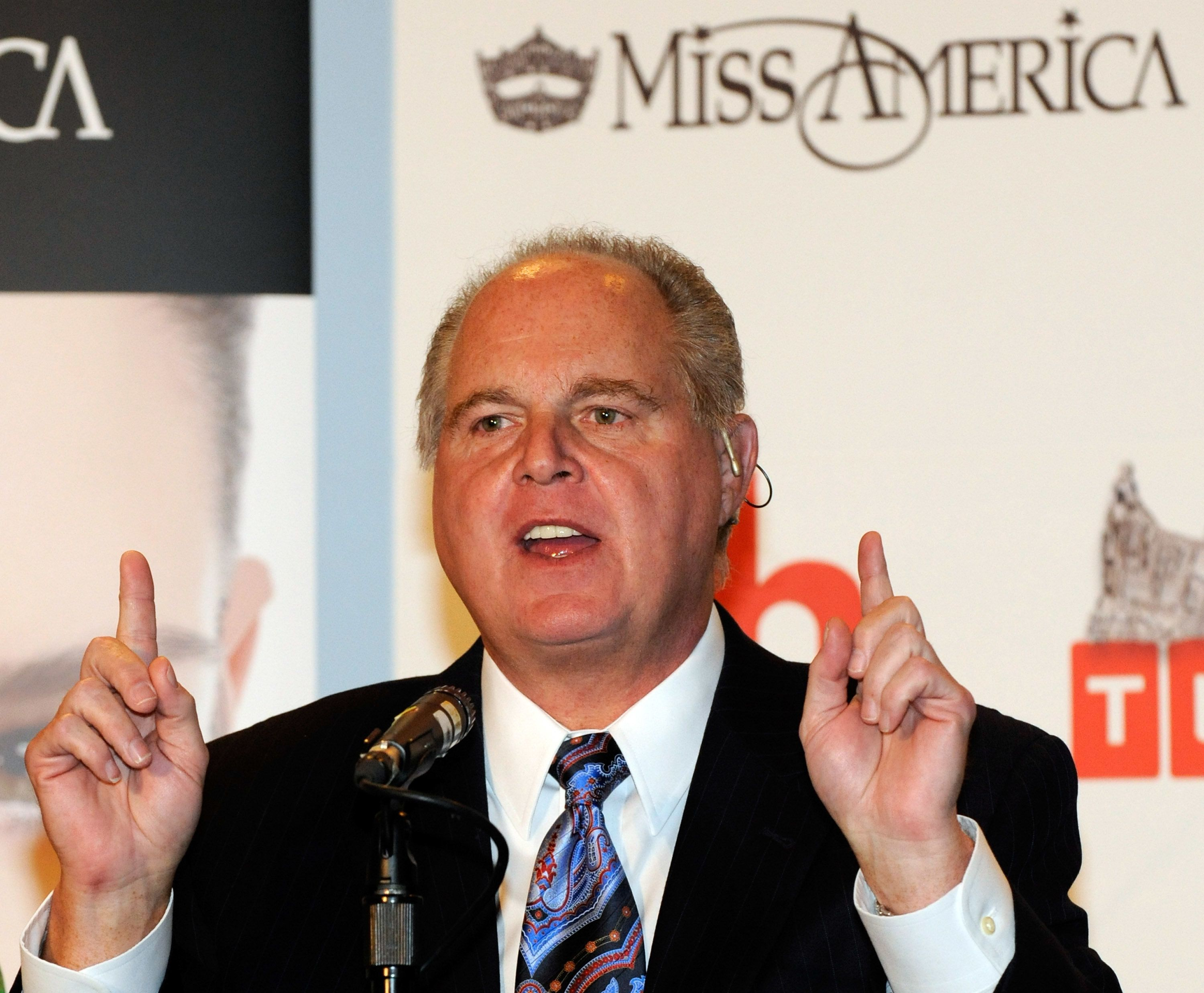 LAS VEGAS - JANUARY 27:  Radio talk show host and conservative commentator Rush Limbaugh, one of the judges for the 2010 Miss America Pageant, speaks during a news conference for judges at the Planet Hollywood Resort & Casino January 27, 2010 in Las Vegas, Nevada. The pageant will be held at the resort on January 30, 2010.  (Photo by Ethan Miller/Getty Images)
