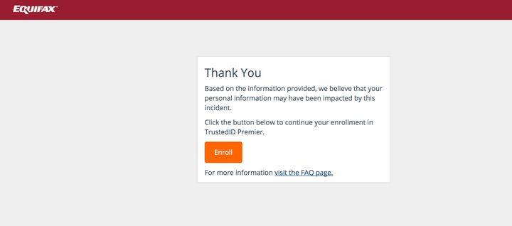 This is the message you'll receive from Equifax if your information may have been affected by the security breach.