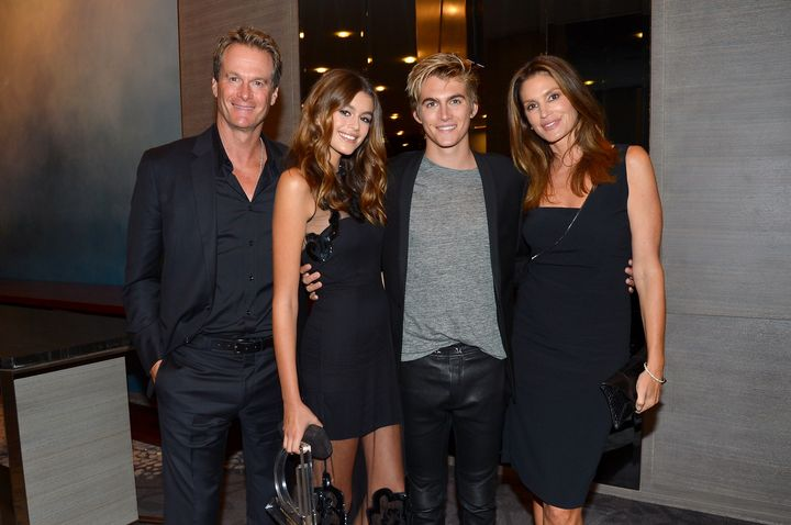 Rande, Kaia and Presley Gerber and Cindy Crawford attend the The Daily Front Row's 4th Annual Fashion Media Awards on Sep. 8,