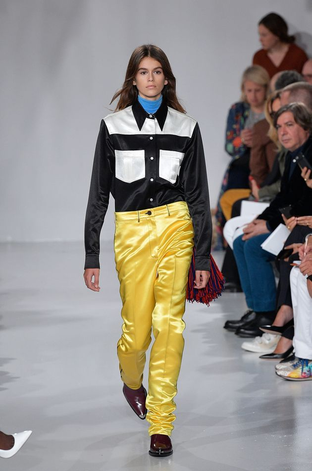 Walkingthe runway for the Calvin Klein Collection fashion show during New York Fashion Week on...