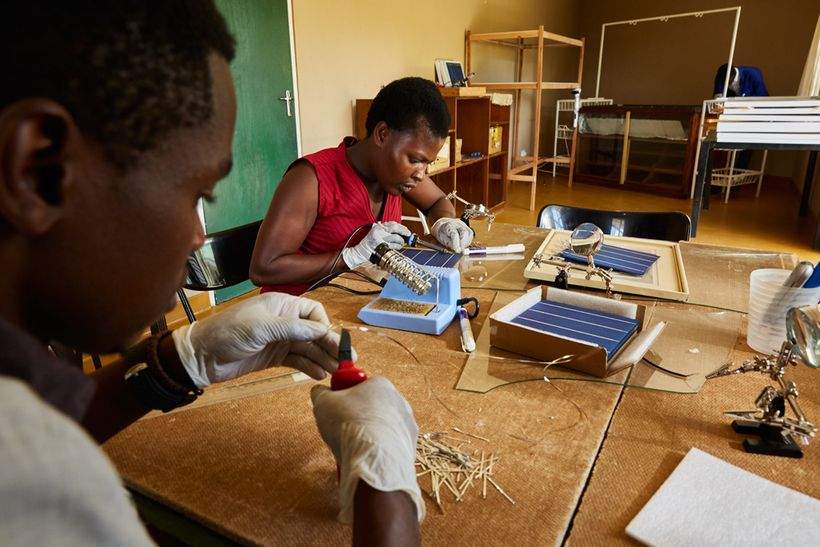 Alex and Jennifer, students at Green Malata, learn how to assemble solar panels, Luchenza, southern Malawi, 2017. Green Malat