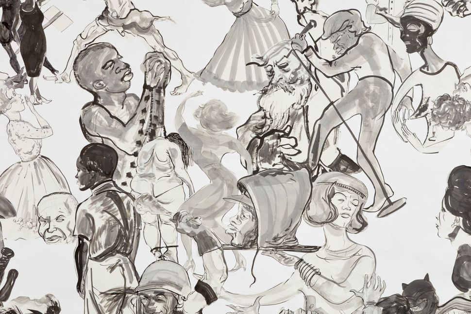 "Kara Walker, ""Christ's Entry into Journalism,"" 2017, Sumi ink and collage on paper, 140 by 196 inches."