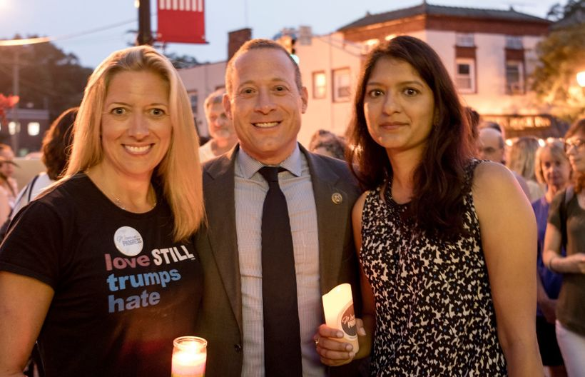 "<strong>Vigil for Charlottesville in Glen Rock, New Jersey </strong> From left: President of <a rel=""nofollow"" href=""https://"