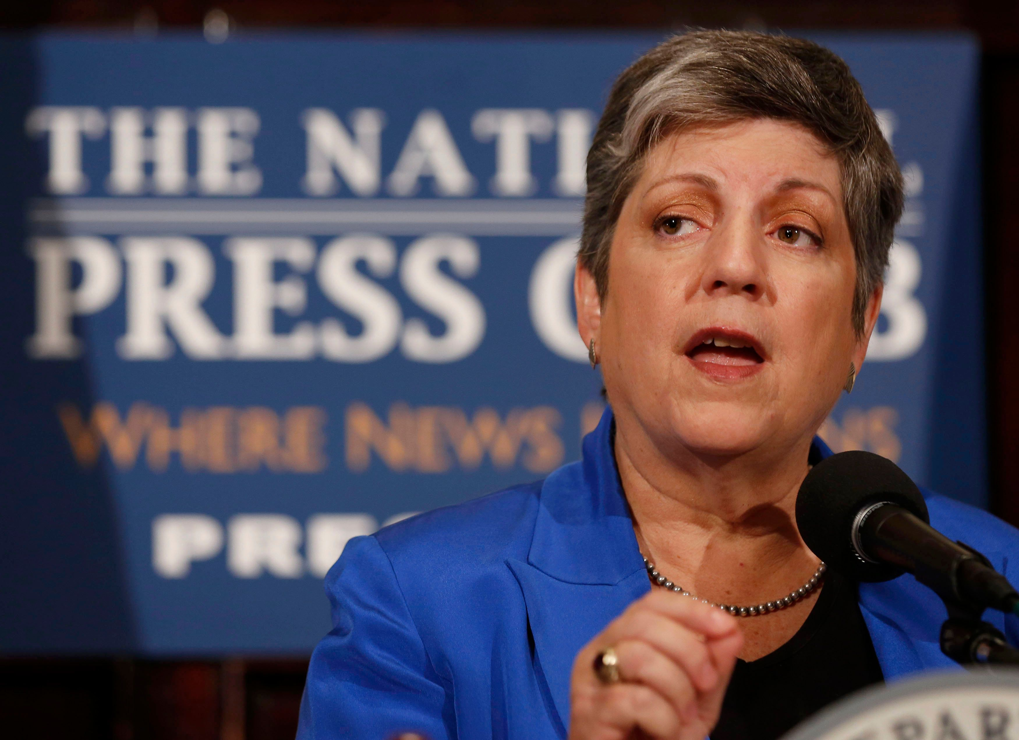 Former Secretary of Homeland Security Janet Napolitano gives her final speech in that office at the National Press Club in Wa