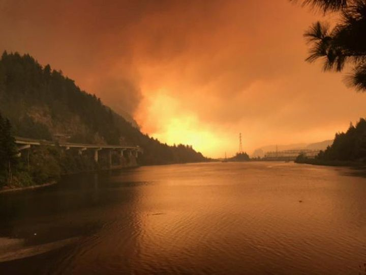 The Eagle Creek fire seen burning along the Columbia River in Oregon on Sept. 5, 2017.
