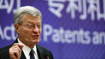 """U.S. ambassador to China Max Baucus makes a speech at the """"Innovation in Action: Patents and Trade Secrets"""" roundtable event in Beijing, China, September 14, 2015. REUTERS/Kim Kyung-Hoon"""
