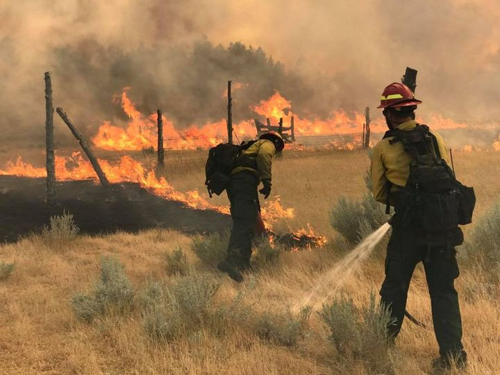 Wildland firefighters battle the Bridge Coulee Fire north of Mosby, Montana, on July 21, 2017.