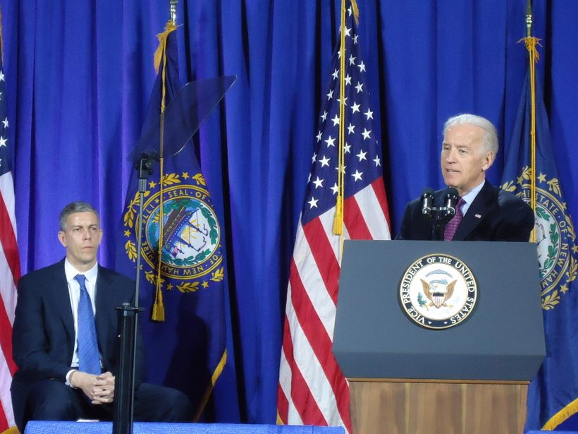 "U.S. Vice President Joe Biden, flanked by U.S. Secretary of Education Arne Duncan, announces the Title IX ""Dear Colleague Let"