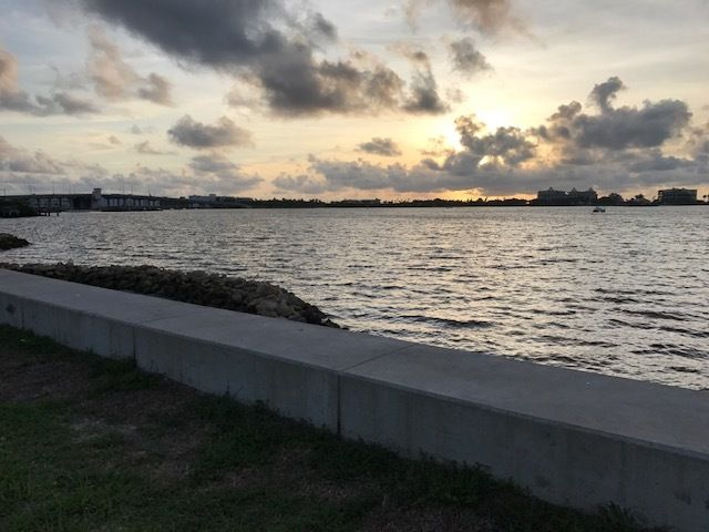 Dawn on Day Zero from the seawall at Bryant Park, Lake Worth, FL.