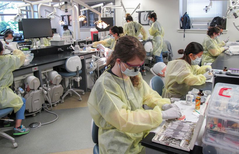 Mirissa D. Price, 2019 DMD Candidate at Harvard School of Dental Medicine, preparing provisional restorations in the preclini