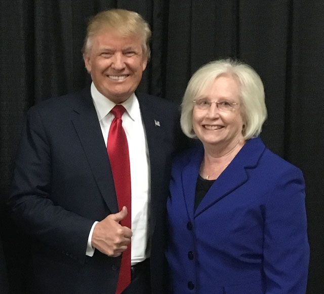 State Senator Mae Beavers and President Donald Trump at post-election campaign rally in Nashville, TN.