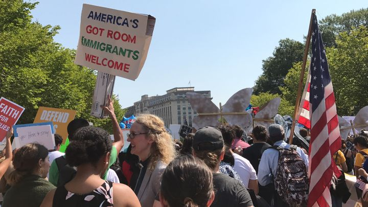 Thousands rally in front of the White House to protest Donald Trump's move to end DACA.