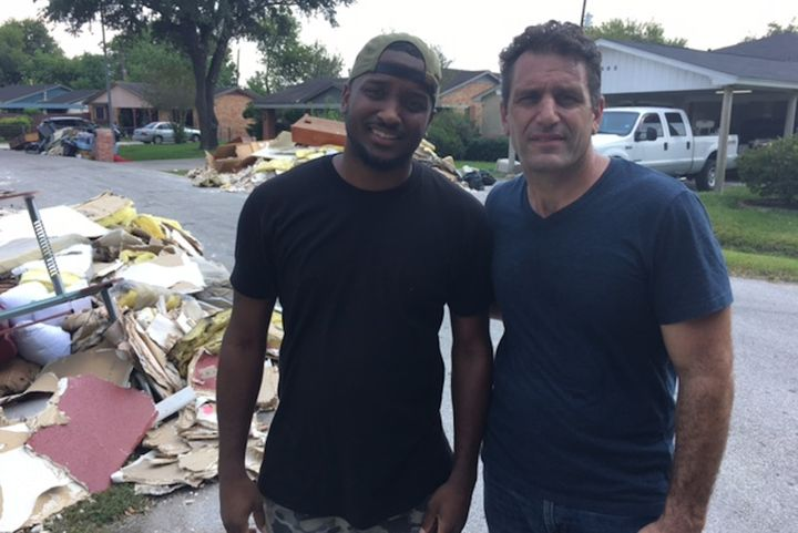 With Pastor Josh Dillard in hard hit Northeast Houston helping and handing out food.