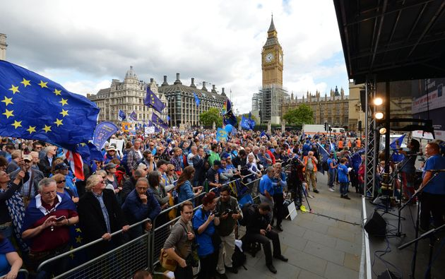 Protesters in Parliament Square during a pro-EU People's March For Europe in London on