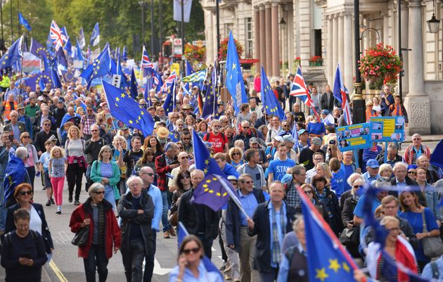 Protesters make their way along Piccadilly during of a pro-EU People's
