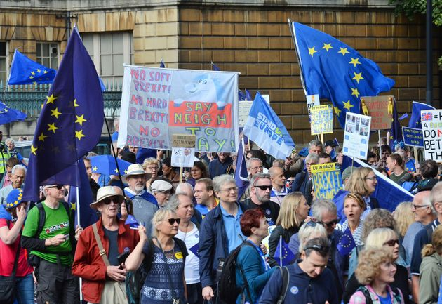 Protesters set off from at Hyde Park Corner during of a pro-EU People's