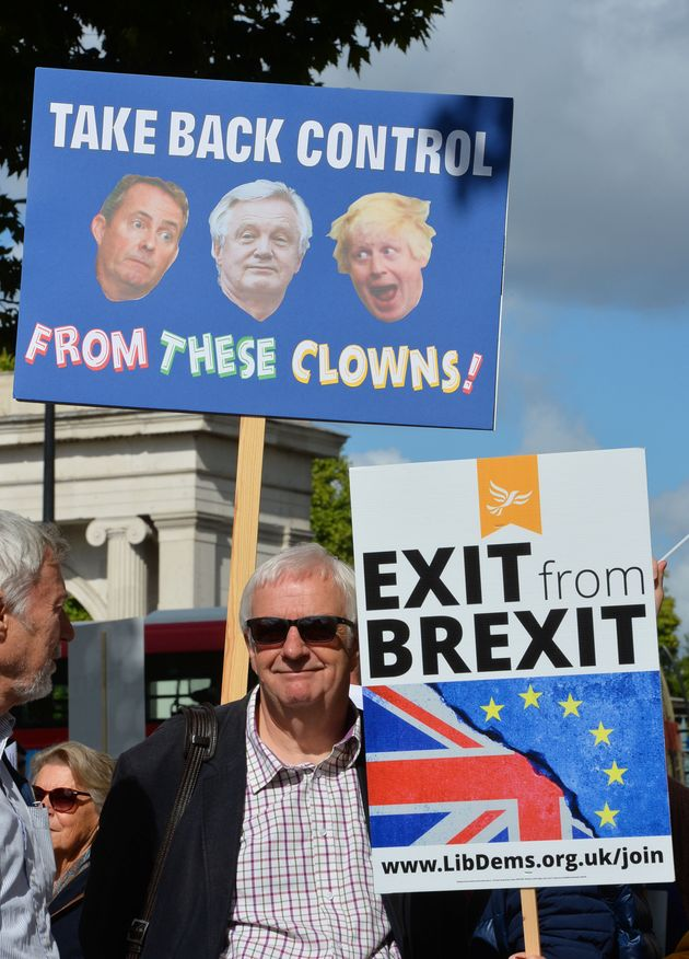 A Lib Dem placcard read 'Exit from