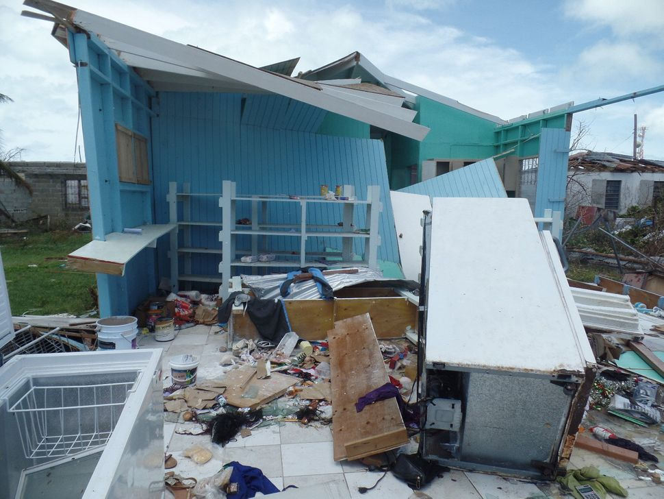 Houses are seen on September 8, 2017 in Codrington, Antigua and Barbuda