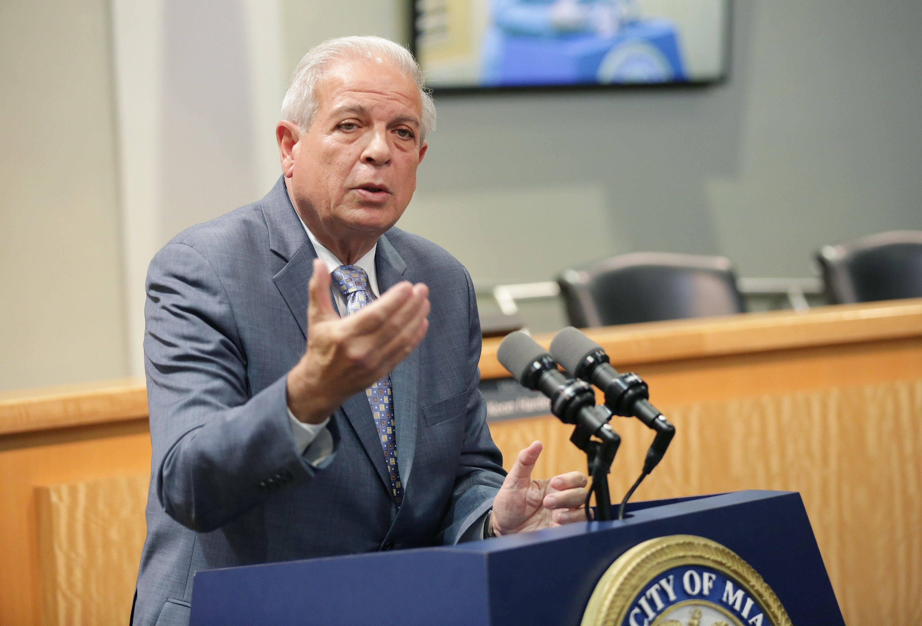 MIAMI, FL - OCTOBER 06: Tomas Regalado is seen at Miami City Hall where he presented William Levy the key to the City of Miami from Mayor Tomas Regalado on October 6, 2014 in Miami, Florida. (Photo by Alexander Tamargo/Getty Images)