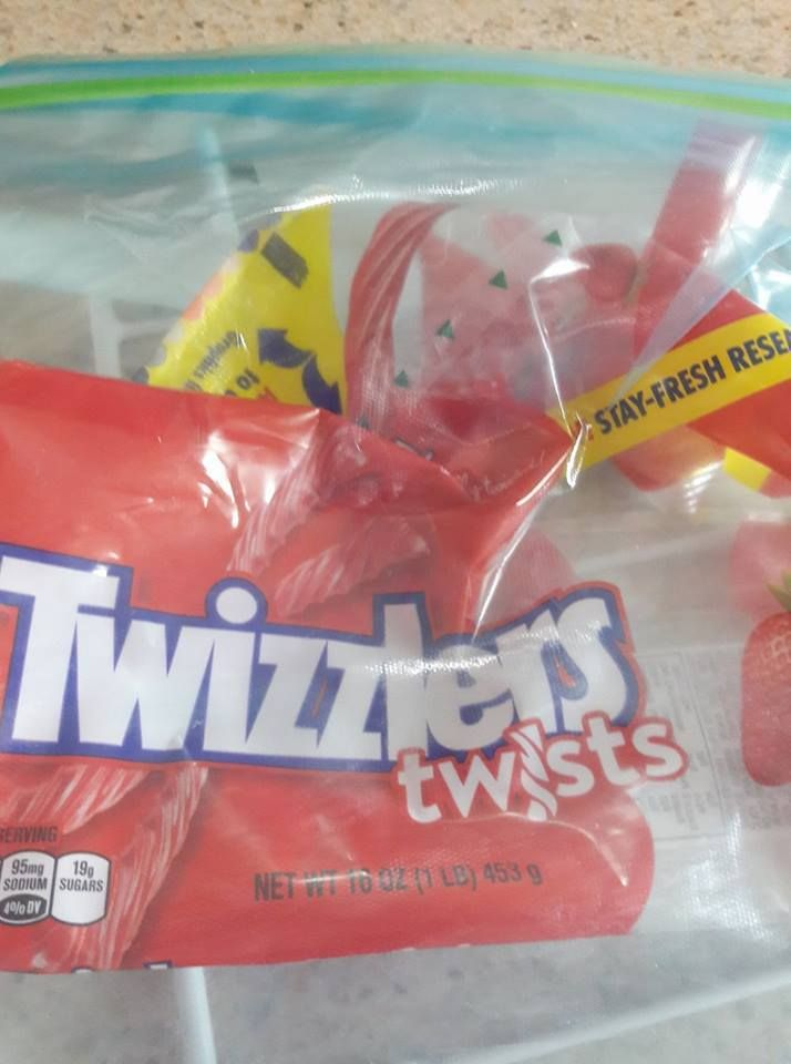 One bag of Twizzlers already gone.
