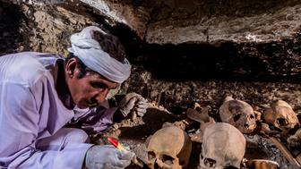 A picture taken on September 9, 2017 shows an Egyptian labourer unearthing skulls and bone remains at a newly-uncovered ancient tomb for a goldsmith dedicated to the ancient Egyptian god Amun, in the Draa Abul Naga necropolis on the west bank of the ancient city of Luxor, which boasts ancient Egyptian temples and burial grounds. The finds at the tomb of 'Amun's Goldsmith, Amenemhat', which dates back to the New Kingdom (16th to 11th centuries BC), also contained a sculpture carved into a recess of him seated beside his wife, with a portrait of their son painted between them, in addition to another 150 small funerary statues carved in wood, clay and limestone. A burial shaft in the tomb led to a chamber where the archaeologists discovered mummies, funerary statues and masks, the antiquities ministry said. / AFP PHOTO / KHALED DESOUKI        (Photo credit should read KHALED DESOUKI/AFP/Getty Images)