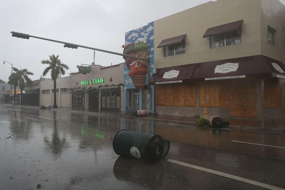 Debris in the street in Miami.