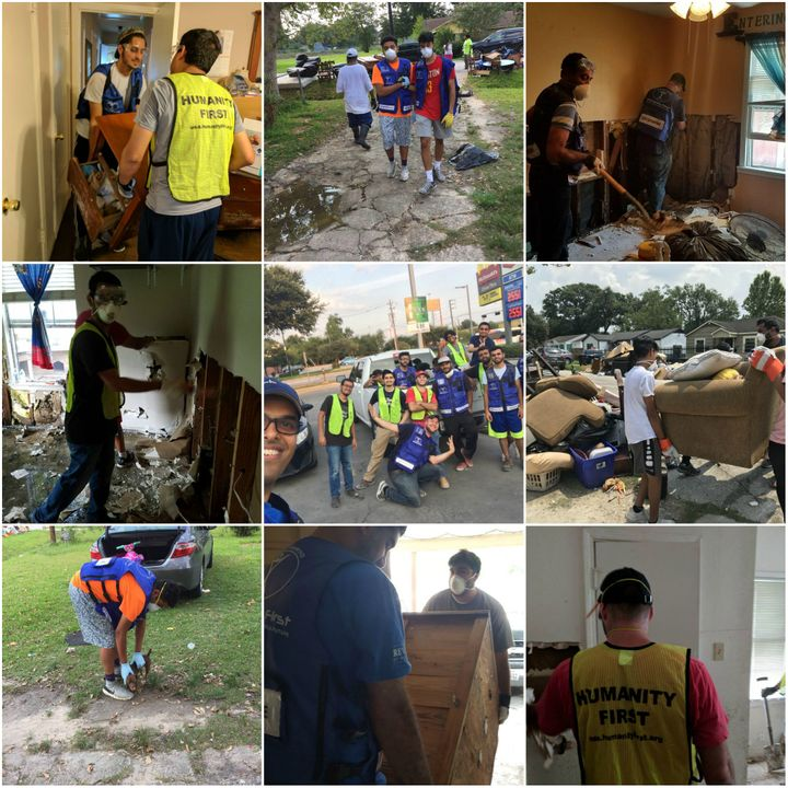 Members of the Ahmadiyya Muslim Youth Association (AMYA) in partnership with Humanity First volunteering in Houston neighborh