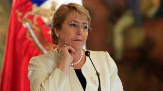 Chile's President Michelle Bachelet listens during a news conference at the presidential palace in Tegucigalpa, Honduras August 23, 2017. REUTERS/Jorge Cabrera
