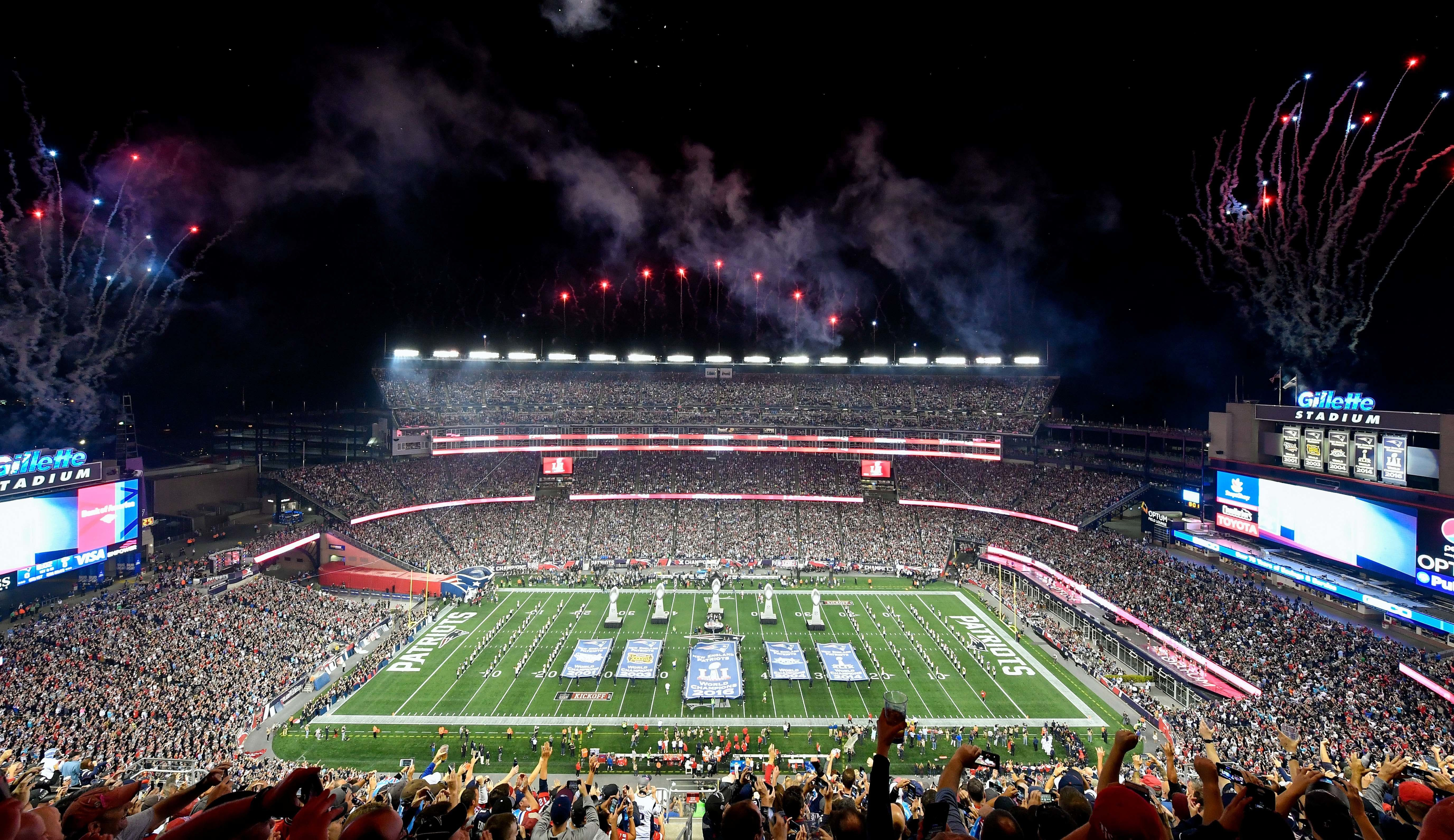 Sep 7, 2017; Foxborough, MA, USA; A general view of Gillette Stadium as the New England Patriots unveil the 2017 Super Bowl Banner before a game against the Kansas City Chiefs. Mandatory Credit: Brian Fluharty-USA TODAY Sports