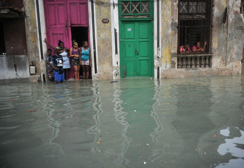 A flooded street in Havana, Cuba.