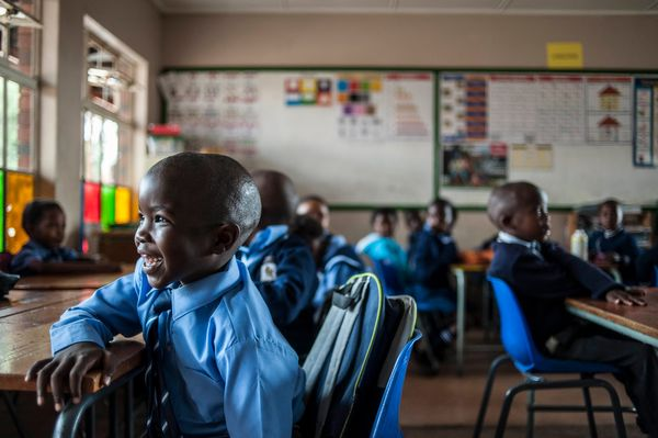 First grade students of Finetown Primary School are seen during the first day of the school year in Johannesburg.