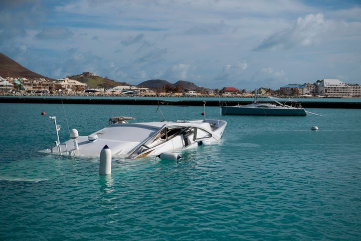 Submerged boats are seen at the Fort Louis Marina in Marigot September 8, 2017 on the island of St. Martin.